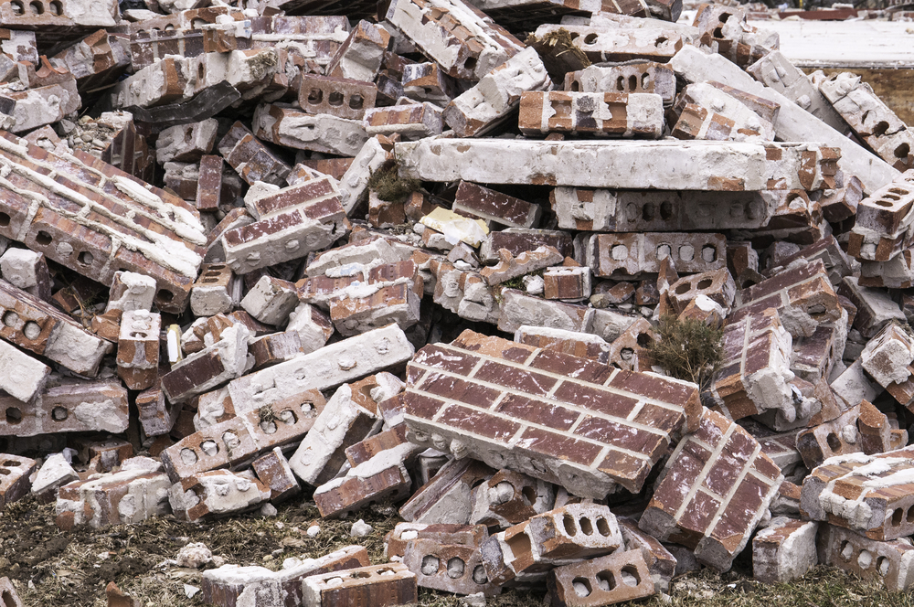 Aftermath of violent storm Pile of brick rubble from a single-family house destroyed by a tornado in Illinois
