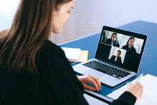 virtual meeting stock image